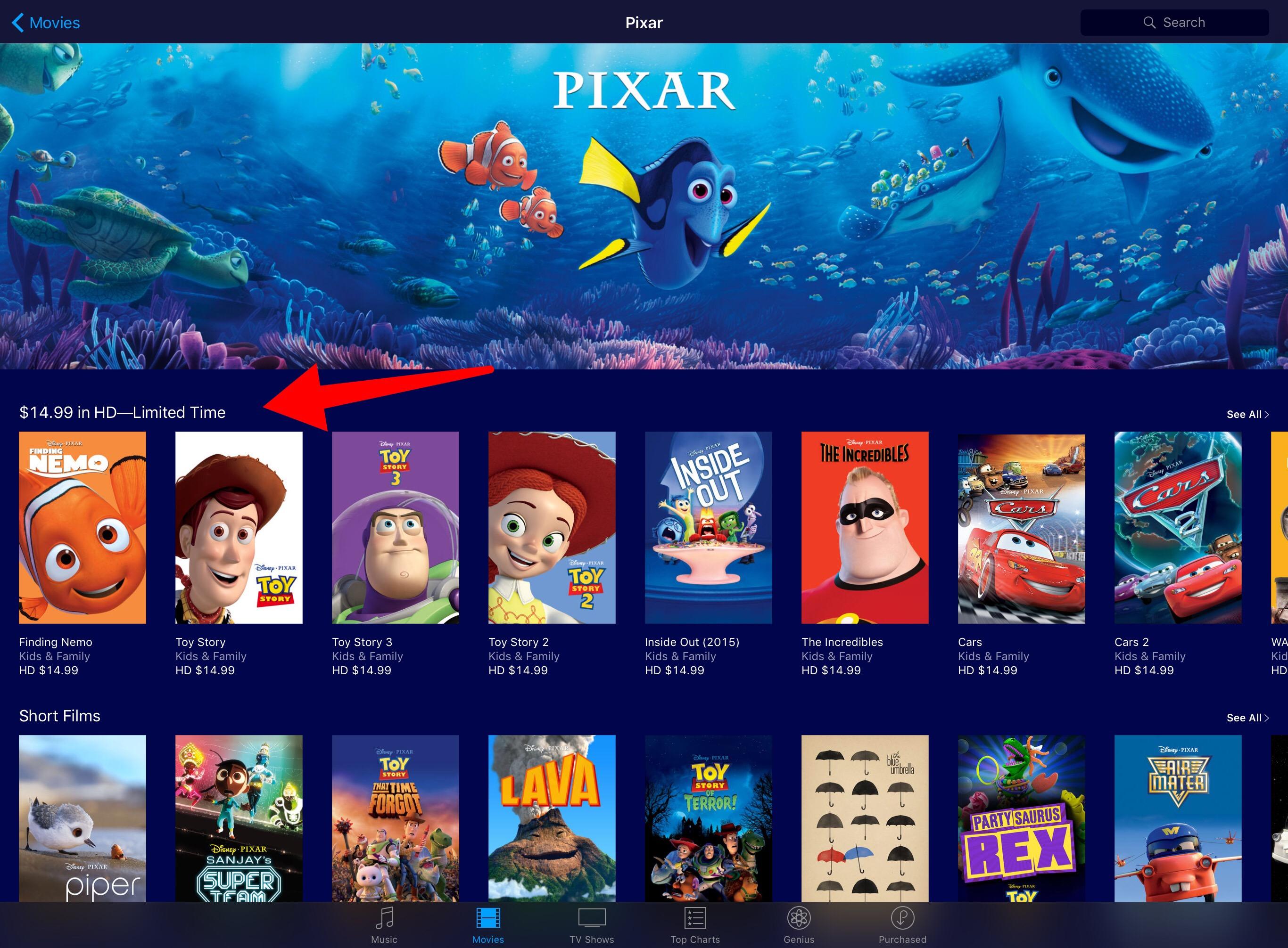 pixar movie sale on itunes � rope drop dot net